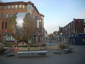 Rising Universe - The Shelley fountain fenced off for repairs in April 2009
