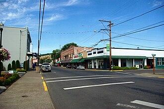 Sheridan, Oregon - The commercial district on Bridge Street