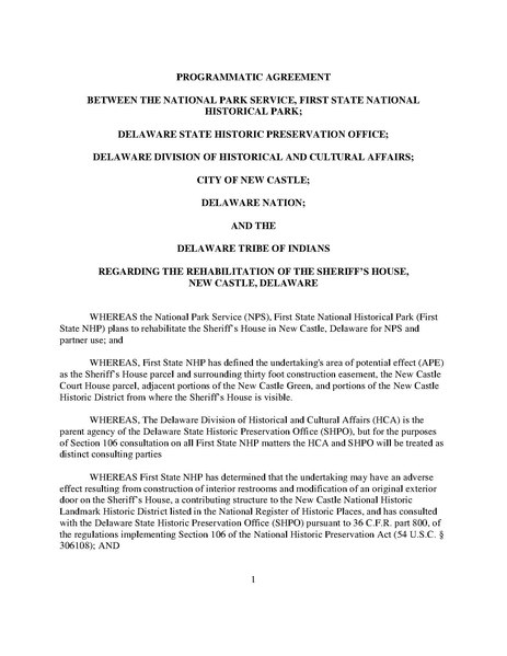 File:Sheriffs House DRAFT Programmatic Agreement.pdf