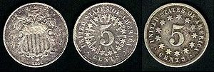 1866 in the United States - Image: Shield Nickel