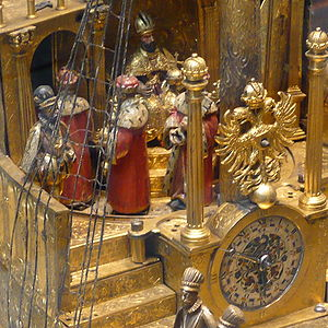 Mechanical Galleon - Detail showing the clock and its owner, and the other six electors, moving around the Holy Roman Emperor.