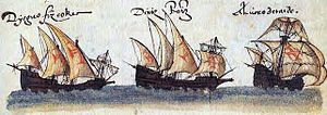 Square-rigged caravel - Two square-rigged caravels (detail)