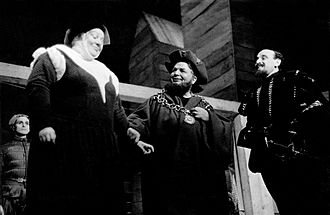 Whitford Kane - Marian Warring-Manley as Margery, Whitford Kane as Simon Eyre, and George Coulouris as the King in the Mercury Theatre production of The Shoemaker's Holiday (1938)