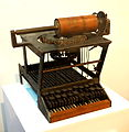 Sholes and Glidden typewriter prototype, c. 1870, replica built in 1938 - Wisconsin Historical Museum - DSC02804.JPG