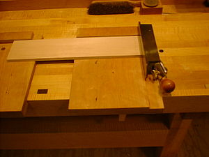 Shooting board - A shooting board used to trim and square end grain
