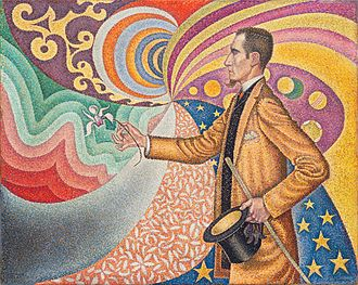 Neo-impressionism - Paul Signac, 1890, Portrait of Félix Fénéon (in front of an enamel of a rhythmic background of measures and angles, shades and colors), oil on canvas, 73.7 x 92.5 cm (28.9 x 36.4 in.), Museum of Modern Art, New York