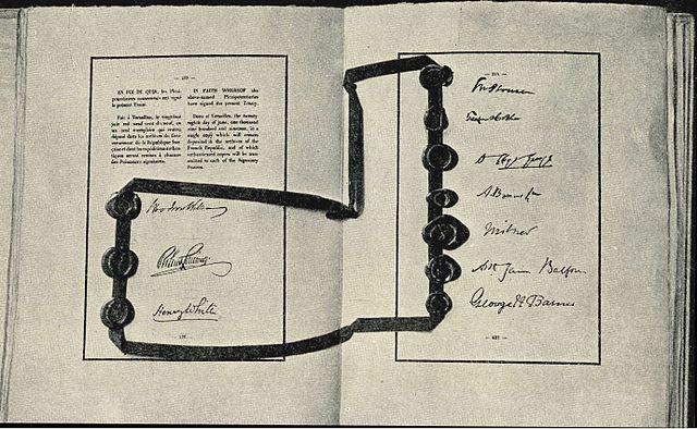 Unterschriften unter den Friedensvertrag von Versaille
