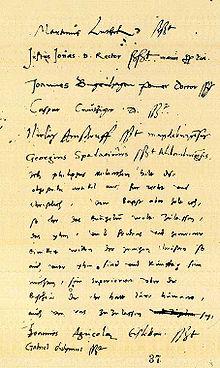 Unterschriften unter die Schmalkaldischen Artikel, mit Melanchthons Kommentar (Hauptstaatsarchiv Weimar, Ernestinisches Gesamtarchiv, Reg. H 124, 37r.[59]) (Quelle: Wikimedia)