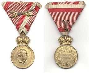 Military Merit Medal (Austria-Hungary) - Bronze Military Merit Medal on the War Ribbon with Swords, Franz Joseph I