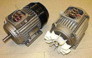 Induction motor - Three-phase totally enclosed fan-cooled (TEFC) induction motor with end cover on the left, and without end cover to show cooling fan. In TEFC motors, interior heat losses are dissipated indirectly through enclosure fins, mostly by forced air convection.