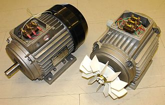 Induction motor - Three-phase totally-enclosed fan-cooled (TEFC) induction motor with end cover on the left, and without end cover to show cooling fan. In TEFC motors, interior heat losses are dissipated indirectly through enclosure fins, mostly by forced air convection.