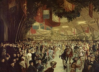 Victoria Skating Rink - 1870 skating carnival in Victoria Rink in honour of Prince Arthur, Duke of Connaught and Strathearn. Hundreds of skaters, some in costume, some in military dress skate inside the arena, which is decorated with evergreen boughs and flags.