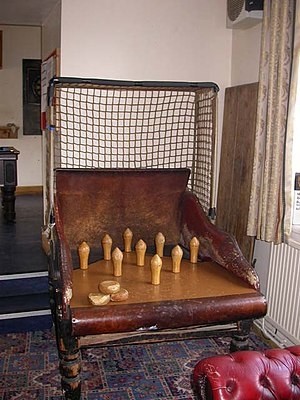 Skittles (sport) - A traditional and, in this case, much battered pub game in Oundle, England