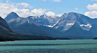 Mount Shark - Mt. Smuts (left) and Mt. Shark (right) seen from Spray Lakes