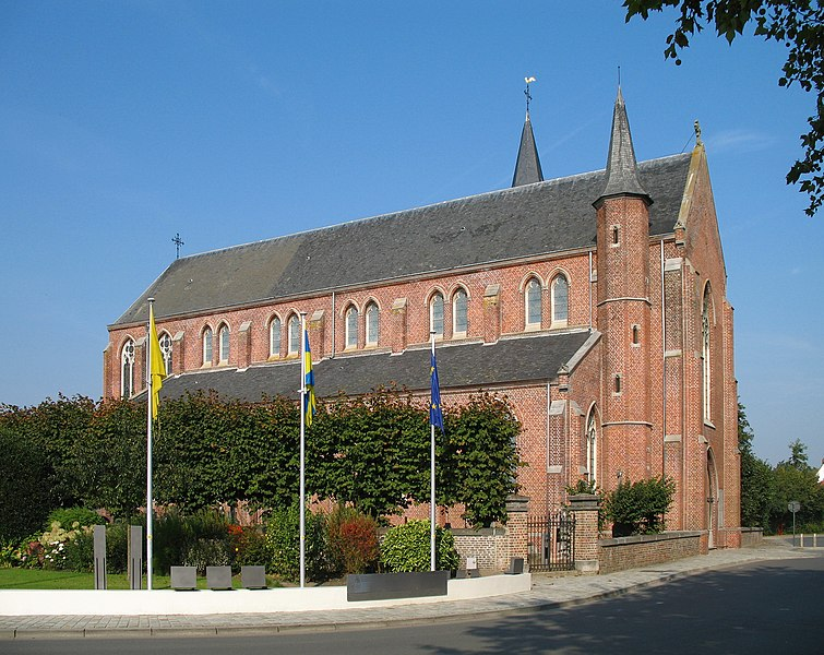 Snellegem (municipality of Jabbeke, province of West Flanders, Belgium): St Eligius church, built 1890-1892 in Gothic revival style