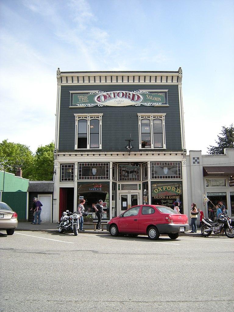 Blue facade of the Oxford Saloon
