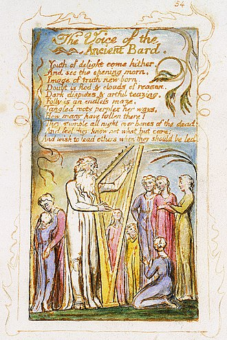 "Bard - William Blake's hand painted engraving of his poem ""The Voice of the Ancient Bard"" in the Songs of Innocence and of Experience"