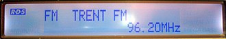 Radio Data System - Typical radio display showing the PS name (programme service) field.