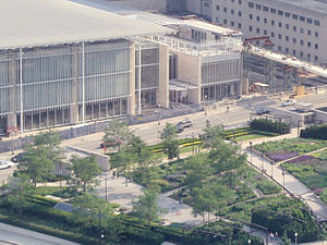 Exelon Pavilions - Renzo Piano designed the South Exelon Pavilions (the two structures on the near side of the street in Lurie Garden), the Art Institute's 2009 Modern Wing, and the Nichols Bridgeway.