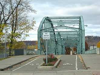 South Washington Street Parabolic Bridge - A view of the bridge from the south, from the intersection of Washington Street and Conklin Avenue