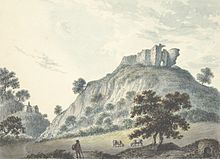 A drawing of a castle on a hilltop.