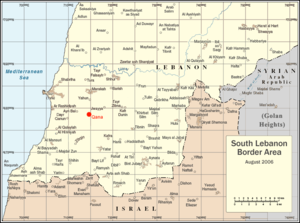 Qana airstrike - Map of South Lebanon showing location of Qana