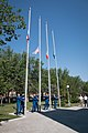 Soyuz MS-05 crew and backup crew conduct the traditional raising of the flags.jpg