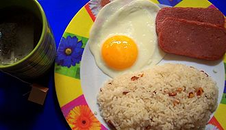 Spam (food) - Spamilog: Spam with sinangág (garlic fried rice) and eggs is a common Filipino breakfast combination