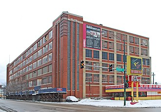 Central Manufacturing District - The Spiegel Administration Building, a Chicago Landmark, located in the Central Manufacturing District at the intersection of West 35th Street and South Morgan Street.