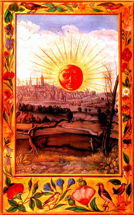 "The red sun rising over the city, the final illustration of 16th-century alchemical text, Splendor Solis. The word rubedo, meaning ""redness"", was adopted by alchemists and signalled alchemical success, and the end of the great work."