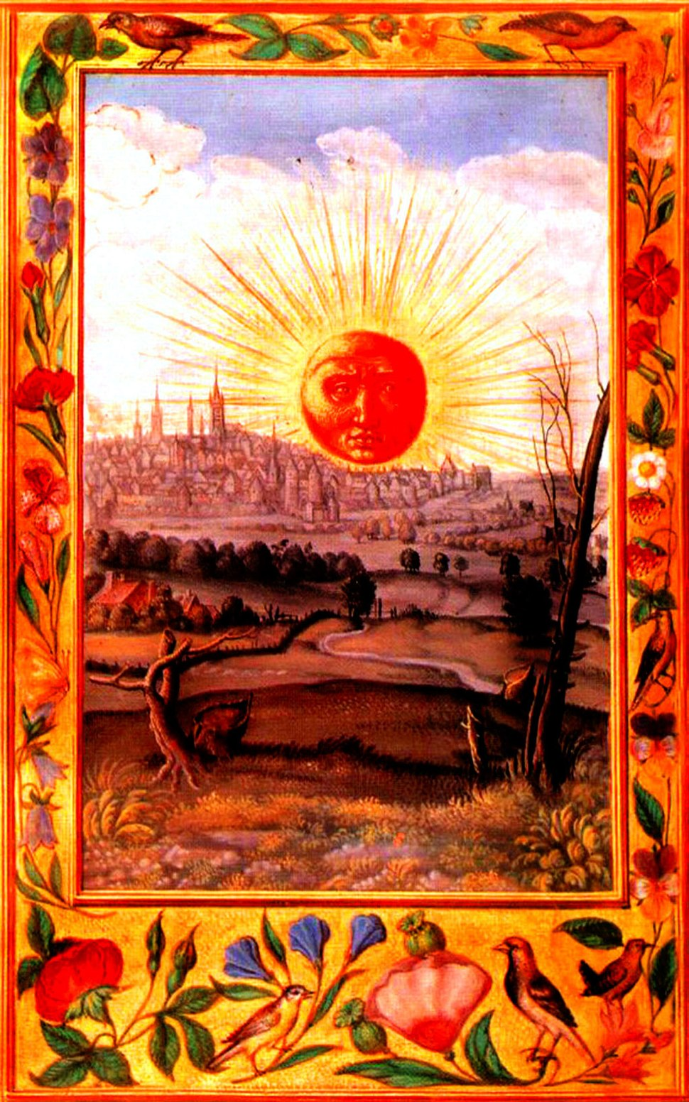 Splendor Solis 22 sun rising over city