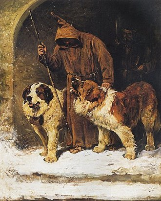 St. Bernard (dog) - Painting by John Emms portraying St. Bernards as rescue dogs