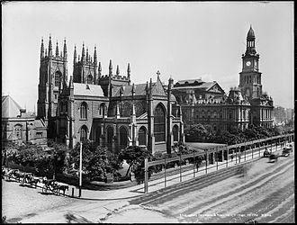 St Andrew's Cathedral, Sydney - St Andrew's and Sydney Town Hall, circa 1900