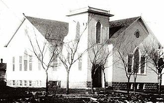 Stafford, Kansas - Image: Stafford Reformed Presbyterian Church at construction