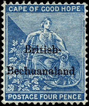 Postage stamps and postal history of British Bechuanaland - Overprinted Cape Stamp, 1885