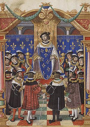 Order of Saint Michael - King Francis I presiding the Order's knights.Painting from a copy of the statutes from about 1530.