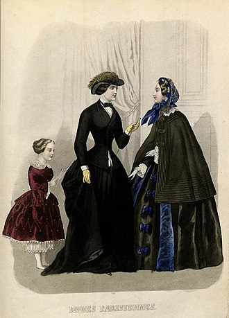 Eugénie hat - 1854 fashion plate, with (left) an early version of the Eugénie hat, which was originally worn for horseriding or travel