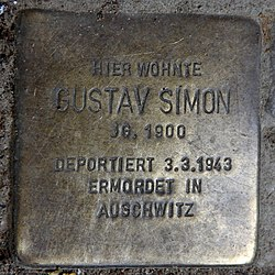 Photo of Gustav Simon brass plaque