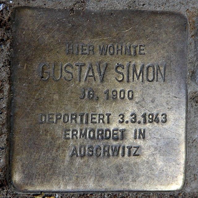 Photo of Gustav Simon brass plaque