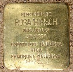 Photo of Rosa Hirsch brass plaque
