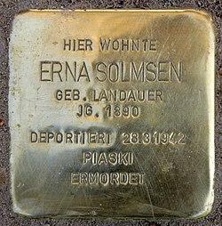 Photo of Erna Solmsen brass plaque