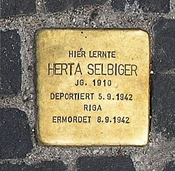 Photo of Herta Ruth Selbiger brass plaque