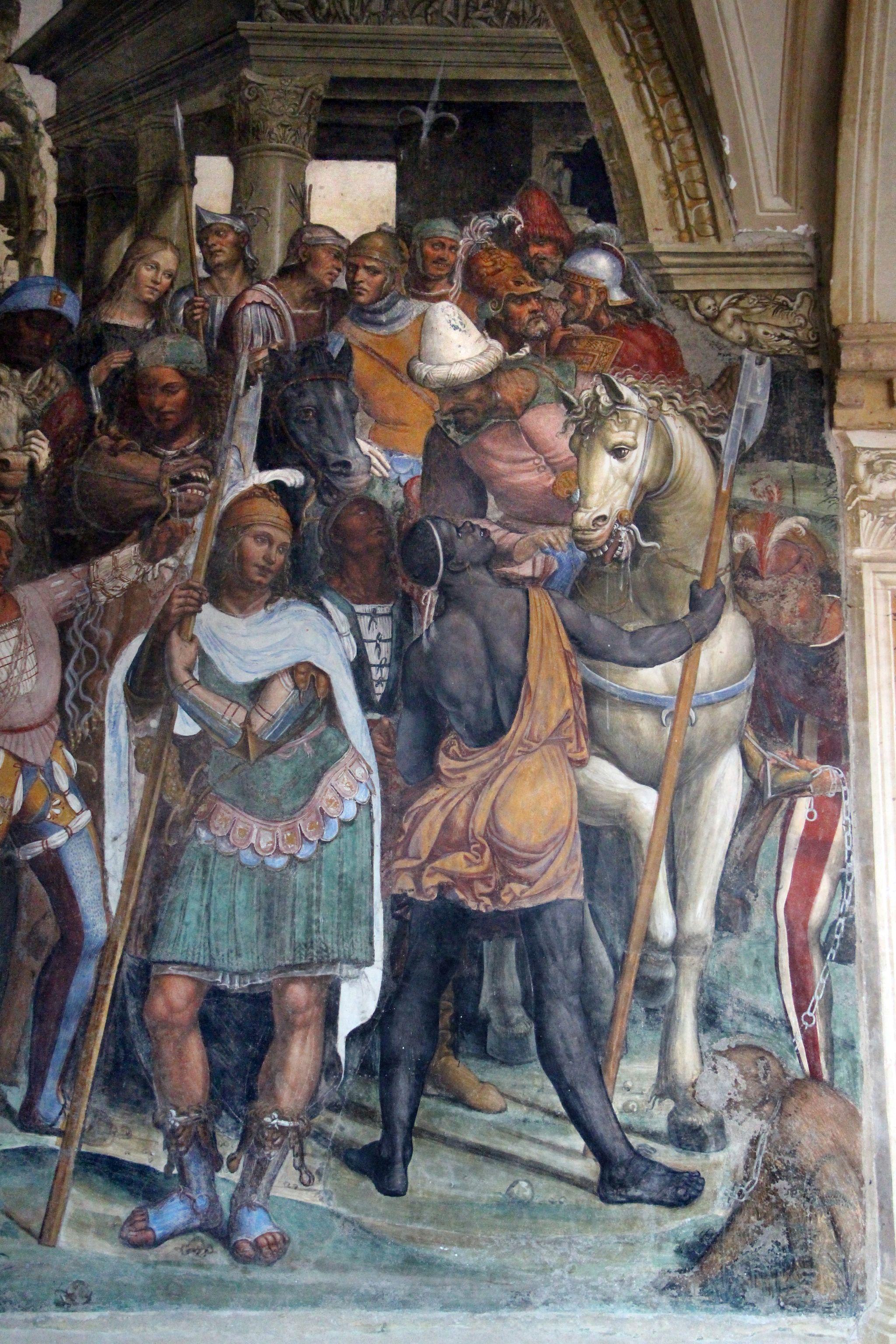Il Sodoma, Le storie di San Benedetto, Scena 12, Come Benedetto riceve li due giovanetti romani Mauro e Placido, Chiostro Grande dell'Abbazia di Monte Oliveto Maggiore