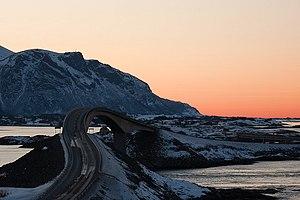 Atlantic Ocean Road - Storseisundet Bridge during winter