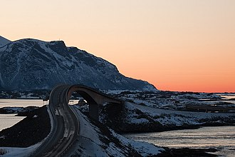 Atlantic Ocean Road - Storseisundet Bridge during winter