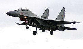 Su-30MKI aircraft in flight armed with an air launched BrahMos supersonic air to surface cruise missile