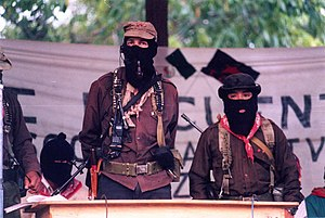 Zapatista Army of National Liberation - Subcommander Marcos surrounded by several commanders of the CCRI