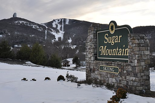 Sugar Mountain with sign