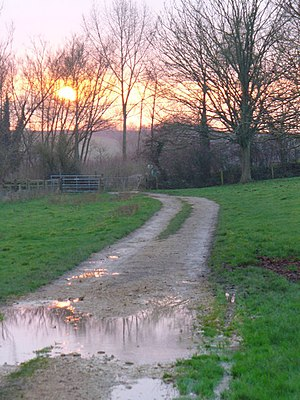 English: Sunset on the Path to St Oswald's Cha...