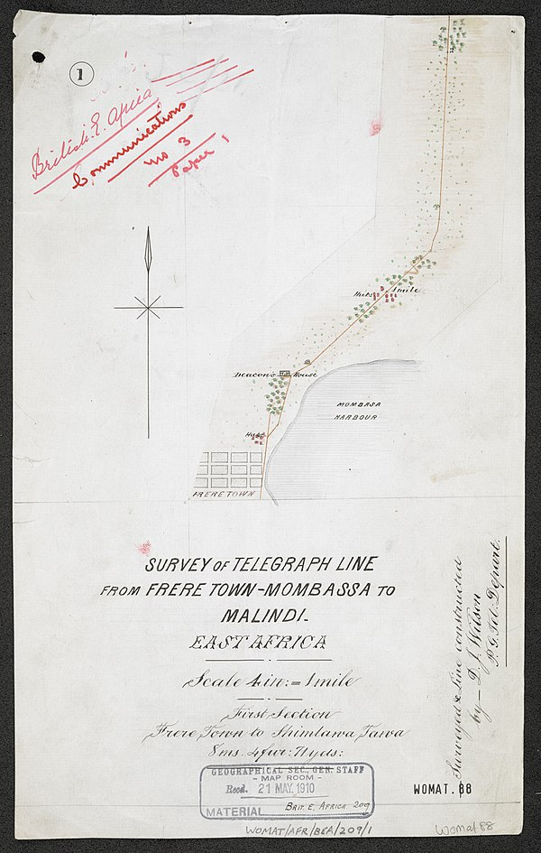 600px survey of telegraph line from frere town mombassa to malindi. east africa. %28womat afr bea 209 1 1%29